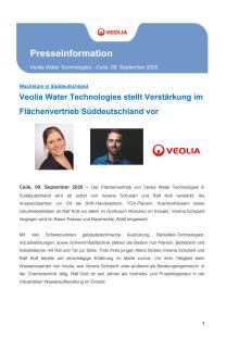 Veolia Water Technologies stellt Verstärkung im Flächenvertrieb Süddeutschland vor