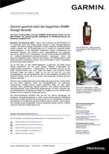 Garmin gewinnt zwei der begehrten DAME Design Awards