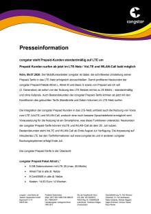 congstar stellt Prepaid-Kunden standardmäßig auf LTE um