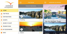 Quick getaways from Singapore made easier with Changi Airport's new Weekend Escapades mobile app