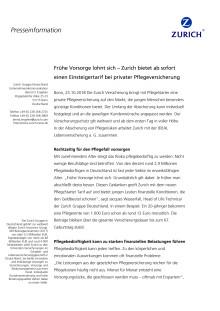 Frühe Vorsorge lohnt sich – Zurich bietet ab sofort einen Einsteigertarif bei privater Pflegeversicherung
