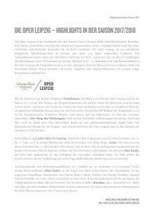 Pressemitteilung: Die Oper Leipzig - Highlights in der Saison 2017/2018