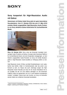"""Pressemitteilung """"Sony kooperiert für High-Resolution Audio mit Qobuz"""""""