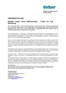 Gothaer Leben: Neue BasisVorsorge - Fonds mit Top-Bewertung