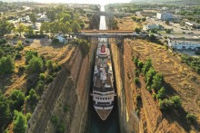 One year on since Fred. Olsen Cruise Lines' record-breaking transit of the Corinth Canal with small ship Braemar