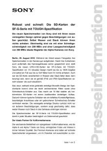 Robust und schnell: Die SD-Karten der  SF-G-Serie mit TOUGH-Spezifikation