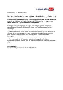 Norwegian åpner ny rute mellom Stockholm og Gøteborg