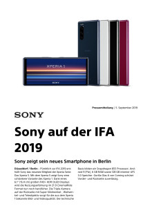 Sony auf der IFA 2019