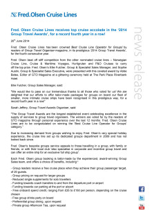 Fred Olsen Cruise Lines wins top cruise accolade in the '2014 Group Travel Awards' for a record fourth year in a row!