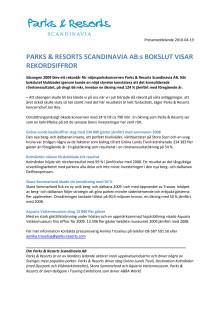 Parks & Resorts Scandinavia AB:s bokslut visar rekordsiffror
