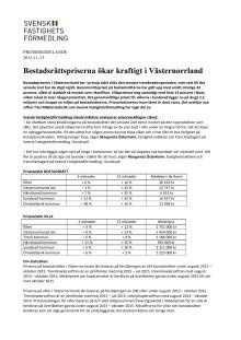 Bostadsrättspriserna ökar kraftigt i Västernorrland