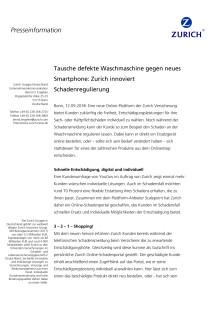Tausche defekte Waschmaschine gegen neues Smartphone: Zurich innoviert Schadenregulierung