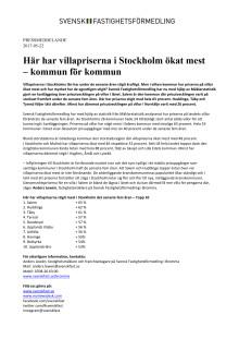Här har villapriserna i Stockholm ökat mest  – kommun för kommun
