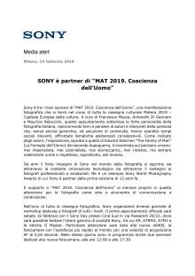 """SONY è partner di """"MAT 2019. Coscienza dell'Uomo"""""""