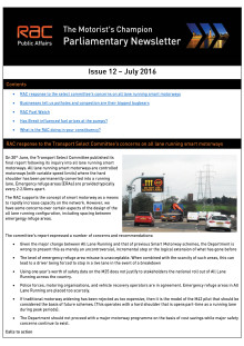 RAC Parliamentary Newsletter #12 - July 2016
