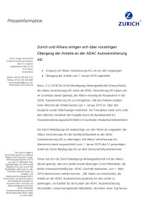 Zurich und Allianz einigen sich über vorzeitigen Übergang der Anteile an der ADAC Autoversicherung AG
