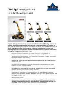 Dieci Agri teleskoplastare, ny produkt i Trejons sortiment