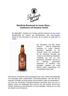 Bewährte Braukunst im neuen Glanz -traditioneu mit Paulaner Zwickl