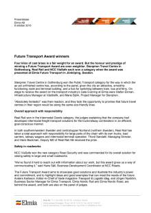 Future Transport Award, English