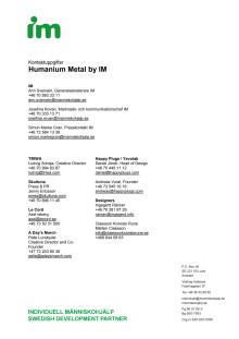 Kontaktpersoner Humanium Metal by IM + fem ledande företag