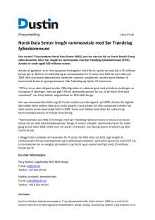 Norsk Data Senter inngår rammeavtale med Sør Trøndelag fylkeskommune