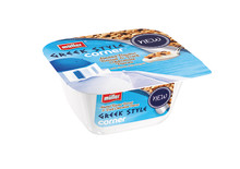 Müller's first Greek Style Yogurt With a Crunchy Biscuit and Chocolate Corner