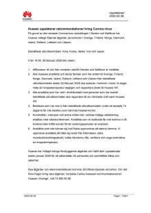 Huawei uppdaterar rekommendationer kring Corona-virus, 2020-02-29