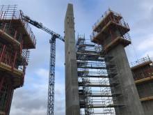 Första pelaren i Helsingborgs nya vattentorn står färdig