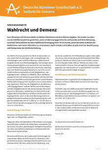 Informationsblatt 20: Wahlrecht und Demenz