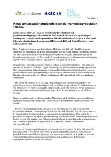 Kinas ambassadör studerade svensk livsmedelsproduktion i Skåne