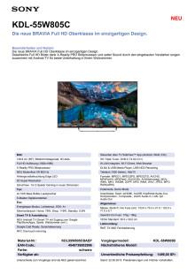KDL-55W805C von Sony