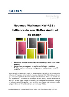 CES SONY | Nouveau Walkman NW-A35 :  l'alliance du son Hi-Res Audio et du design