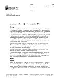 Beslut om licensjakt lodjur i Dalarnas län 2020