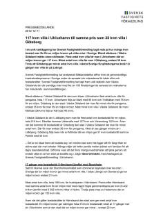 Pressmeddelande: 117 kvm villa i Ulricehamn till samma pris som 35 kvm villa i Göteborg