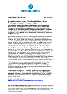 Brandenburg lädt zum 1. Digitalen MICE FamTrip ein