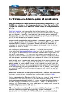 Ford tilbage med stærke priser på privatleasing