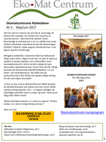Ekomatcentrums nyhetsbrev 2017 nr 5