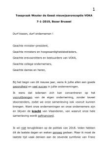 Toespraak Wouter De Geest - Voka nieuwjaarsreceptie en memorandum 2019
