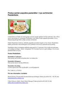 Findus samlar populära pastarätter i nya sortimentet Pastakökets