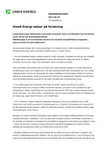 Umeå Energi satsar på forskning