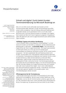 Schnell und digital: Zurich bietet Kunden Terminvereinbarung via Microsoft Bookings an
