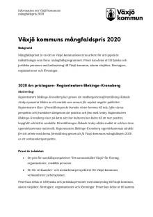 Bakgrund och nomineringar- mångfaldspris 2020