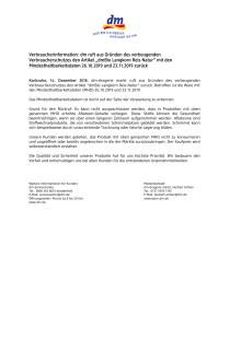"""Verbraucherinformation: dm ruft den Artikel """"dmBio Langkorn Reis Natur"""" mit den Mindesthaltbarkeitsdaten 26.10.2019 und 23.11.2019 zurück"""