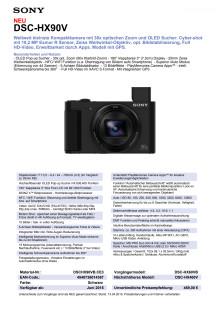 Datenblatt DSC-HX90V von Sony
