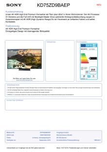 Datenblatt BRAVIA KD-75ZD9BAEP von Sony