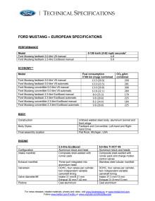 Ford Mustang tekniske specifikationer
