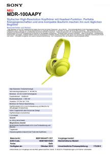 Datenblatt h.ear on von Sony_gelb