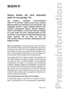 Optimal flexibel: Der neue ultramobile VAIO® Fit 11A multi-flip™ PC