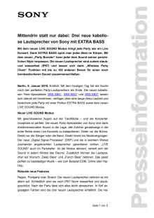 Mittendrin statt nur dabei: Drei neue kabellose Lautsprecher von Sony mit EXTRA BASS