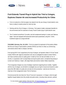 Ford udvider testkørsel af Transit PHEV til Köln